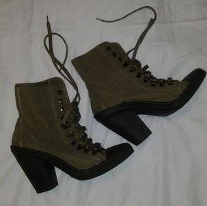 Army green high heel boots